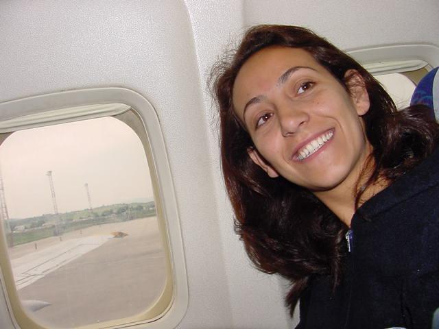 Teuta Shabani Towler on the airplane 2004 from Vienna to Washington Dc.